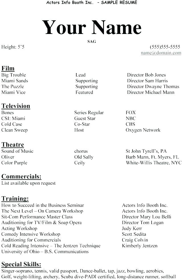 Example Actor Resume Sample For Beginners Impressive Actors Free Acting Template No Experience